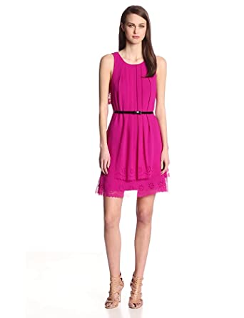 Jessica Simpson Women's Laser Cut Chiffon Dress, Fuchsia, 2