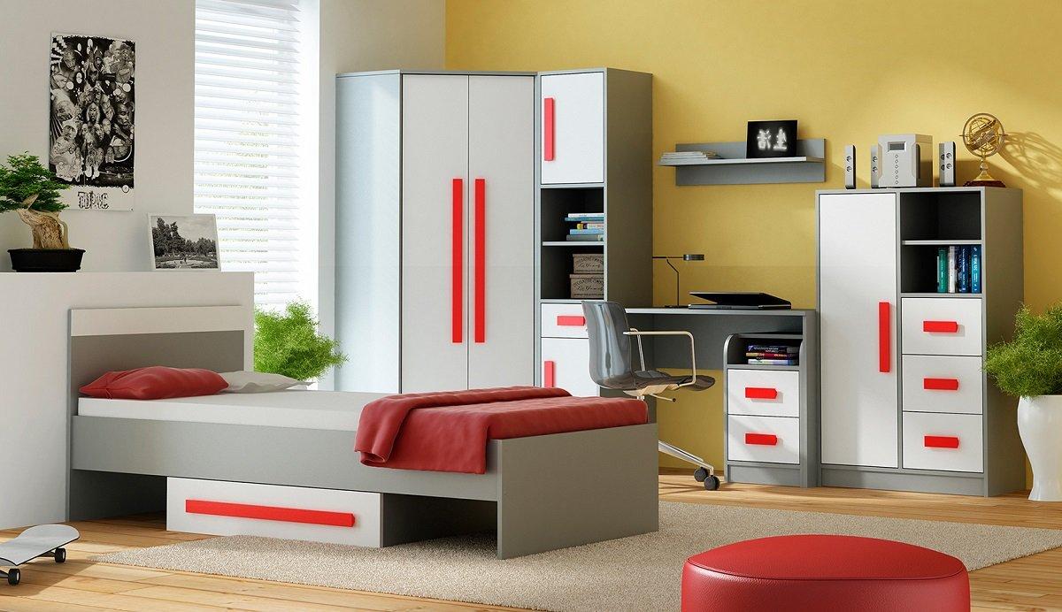 Jugendzimmer Kinderzimmer GRANT 7-tlg komplett in 5 Farben Schrank Bett Schreibtisch Kommode Regale NEU online bestellen