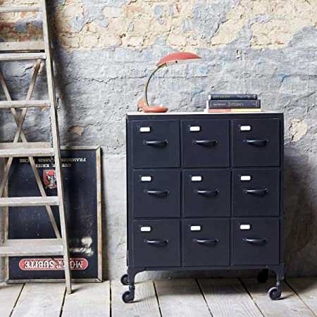 Industrial Design Style Metal Chest of 9 Drawers Sideboard Wheels New Tikamoon
