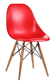 Premier Housewares ABS Chair with Wooden Legs - Red, Set of 2