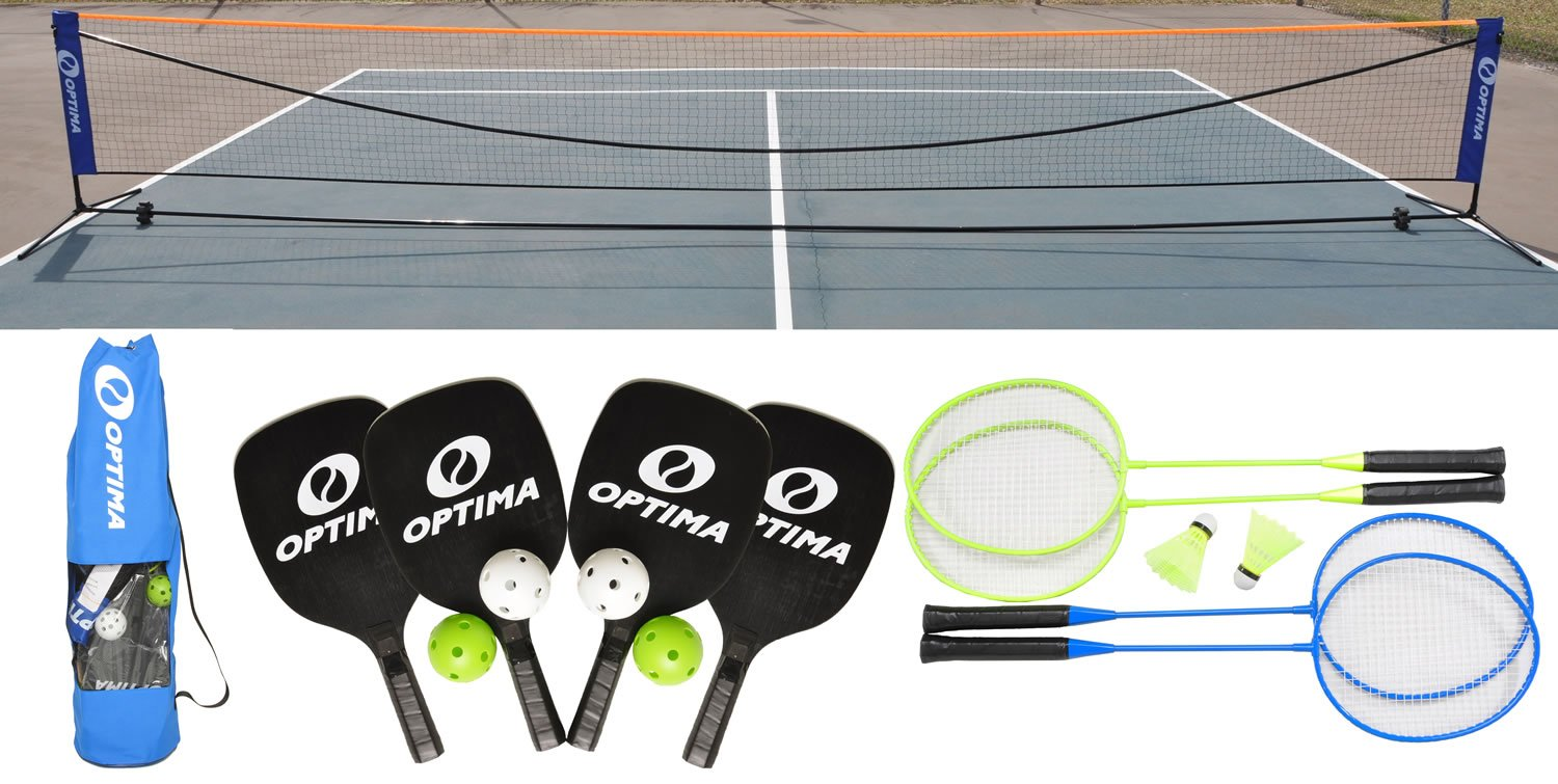 Optima Complete Pickleball, Badminton Portable Net Starter Set