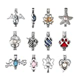 12Pcs Pearl Bead Cage Pendants - Rhodium Plated Hollow Aromatherapy Essential Oil Diffuser Locket Pendant for Jewelry Making (Mixed Style, No Duplicate)
