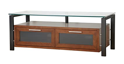 PLATEAU DECOR 50 WB Wood and Glass TV Stand, 50-Inch, Walnut Finish