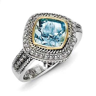 Sterling Silver With 14ct Blue Topaz Ring - Ring Size Options Range: L to P