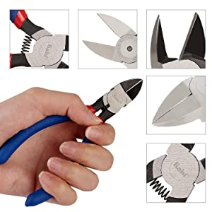 Kaisi KA05 Micro Wire Cutter 5-inch Diagonal Wire Cutting Pliers Precision Flush Cutters Side Pliers for Cut Electronics, Wires, Jewelry, DIY and More (Color: KA05, Tamaño: KA05-1Pack)