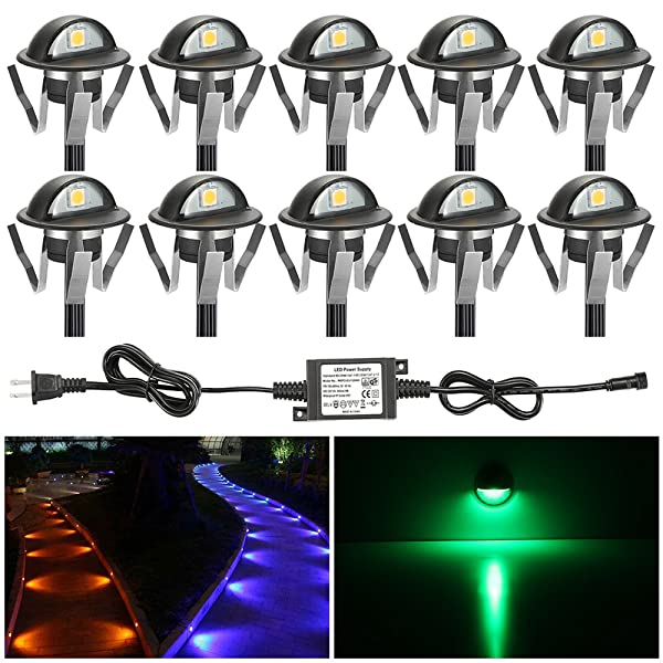 FVTLED Pack of 10 Low Voltage LED Deck Lights kit Dia. 1.38 Outdoor Garden Yard Decoration Lamp Recessed Landscape Pathway Step Stair RGB LED Lighting, Black (Color: Rgb (Black), Tamaño: 10pcs)