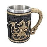 Dragon Skeleton Tankard 16 oz. Mug (Color: Black, Tamaño: One Size)
