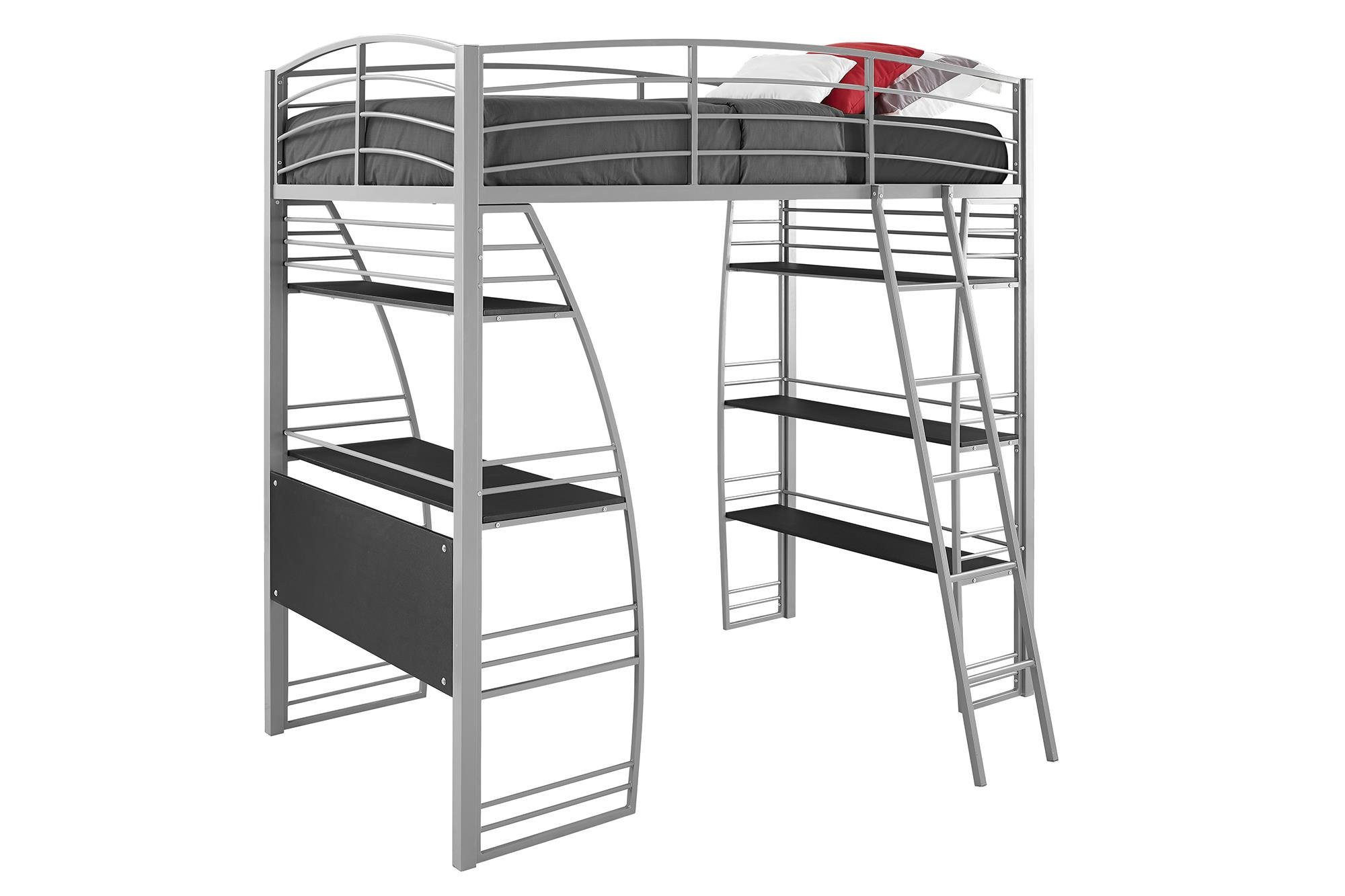 dhp studio loft bunk bed over desk and bookcase with metal frame twin gray ebay. Black Bedroom Furniture Sets. Home Design Ideas