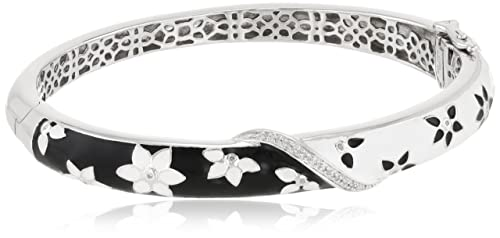 Sterling Silver Diamond Black and White Enamel Floral Bangle Bracelet $149.00
