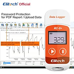 Elitech RC-5+ PDF USB Temperature Data Logger Reusable Recorder 32000 Points High Accuracy (Color: RC-5+, Tamaño: Small)