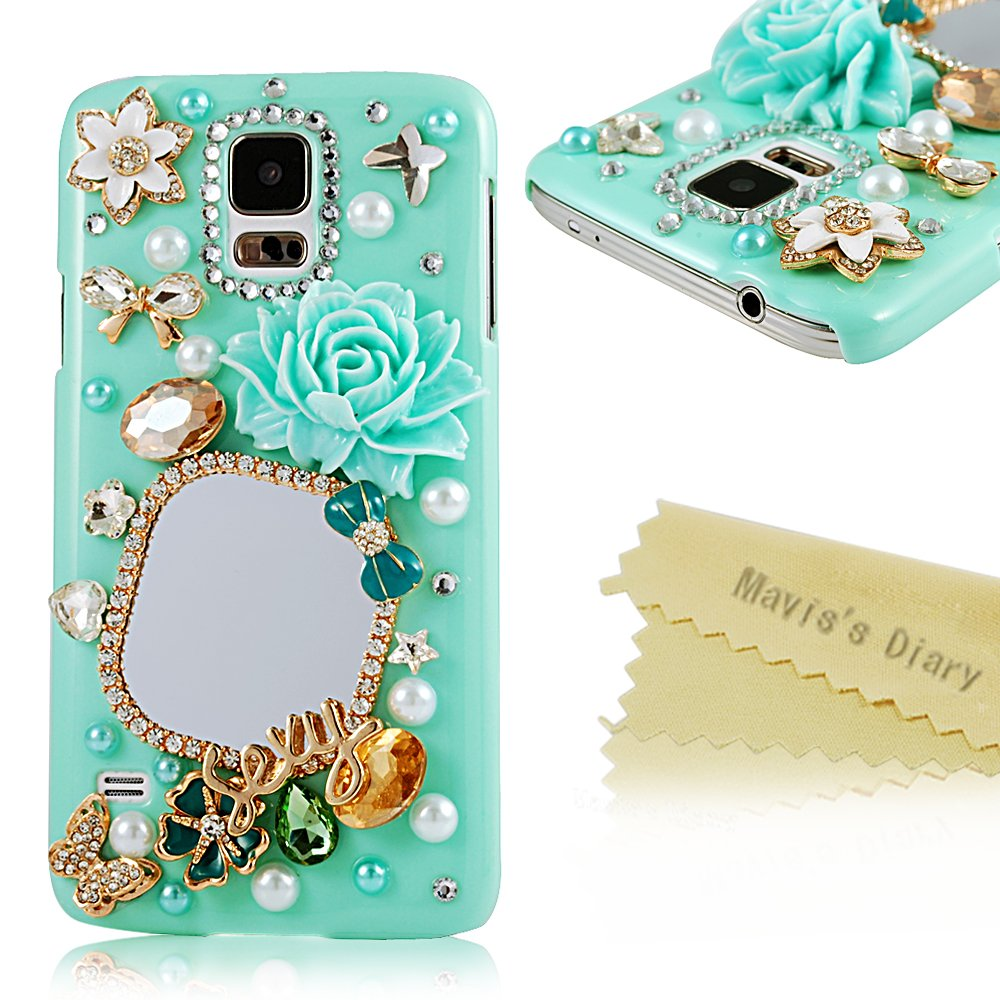 3D Handmade Bling Diamond Mirror Rhinestone Flowers and Butterflies Green Pearl PC Back Cover Case with Soft Clean Cloth (Samsung Galaxy S5 I9600)