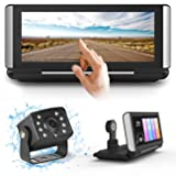 FHD Backup Camera Dual Dash Cam Streaming Media 3 in 1 for Truck RV Trailer Bus Vans Campers Motorhome,7 inch Center Stack Full Touch Screen Front and Rear View Parking Guideline (Color: Black, Tamaño: Standard Large)
