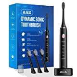 AIEX Sonic Electric Toothbrush with 3 Replacement Heads Rechargeable Electronic Toothbrush with Holder Black Travel Toothbrush with 5 Modes/IPX7 Waterproof/USB Wireless Charging/Smart Timer/Travel Bag (Color: black)