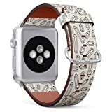 Compatible with Apple iWatch Series 1/2/3/4 (42mm & 44mm), Replacement Leather Bracelet Wristband Strap [ Monochrome Pencil ]