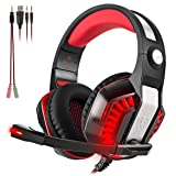 Beexcellent GM-2 Surround Sound Gaming Headset, Over Ear Noise Cancelling Headphones with Mic and LED Light, Stereo PC Headset for VR, Computer Game, PS4, Xbox One, iPad, Phone, Laptop Nintendo Switch (Color: Red)