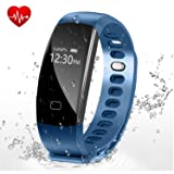 Letufit Fitness Tracker, Heart Rate Activity Tracker Smart Bracelet with Sleep Monitor,Pedometer for iOS & Android (blue) (Color: Blue)