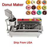 Automatic Donut Making Machine denshine Commercial Electric Doughnut Donut Maker 3 Sizes Moulds Auto Donuts, Molding, Frying, Turning, Collecting Machine Automatic Temperature Control(7L) (Color: Silver)