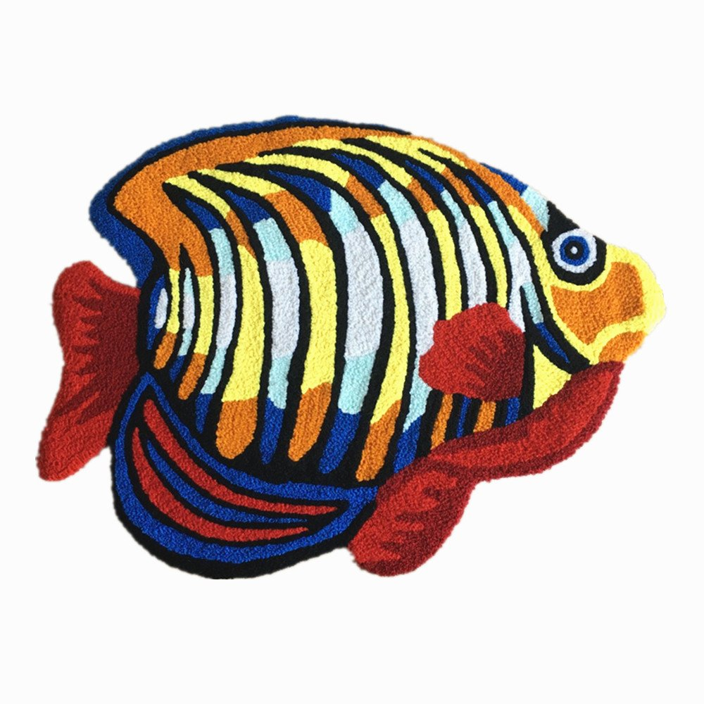 Ustide Colorful Fish Area Rugs Handmade Floor Mats Washable Anti-slip Floor Mat Colorful Fish Imprint Small Carpet