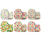 Mama Koala One Size Baby Washable Reusable Pocket Cloth Diapers, 6 Pack with 6 One Size Microfiber Inserts (A Little Life) (Color: A Little Life, Tamaño: One Size)
