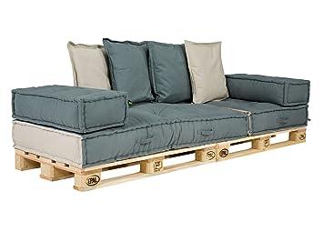 Massivum Sofa Caribou 3-Sitzer Komplett mit Paletten, Stoff, Grau, 240 x 95 x 80 cm