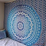 FUNFABRICS 84 (85 X 90 Inches Queen Size) DESIGNER HOME DECOR OMBRE MANDALA TAPESTRY WALL HANGING TAPESTRIES COTTON BEDSPREAD BEDSHEET BEDCOVER