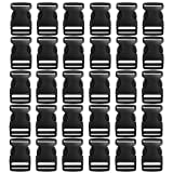 30 Pack Plastic Buckles, YGDZ 1 Inch Buckles Flat Side Quick Release Parachute Buckles for Backpack Bag Webbing Belt Dog Collars(Black) (Color: Black, Tamaño: 2)