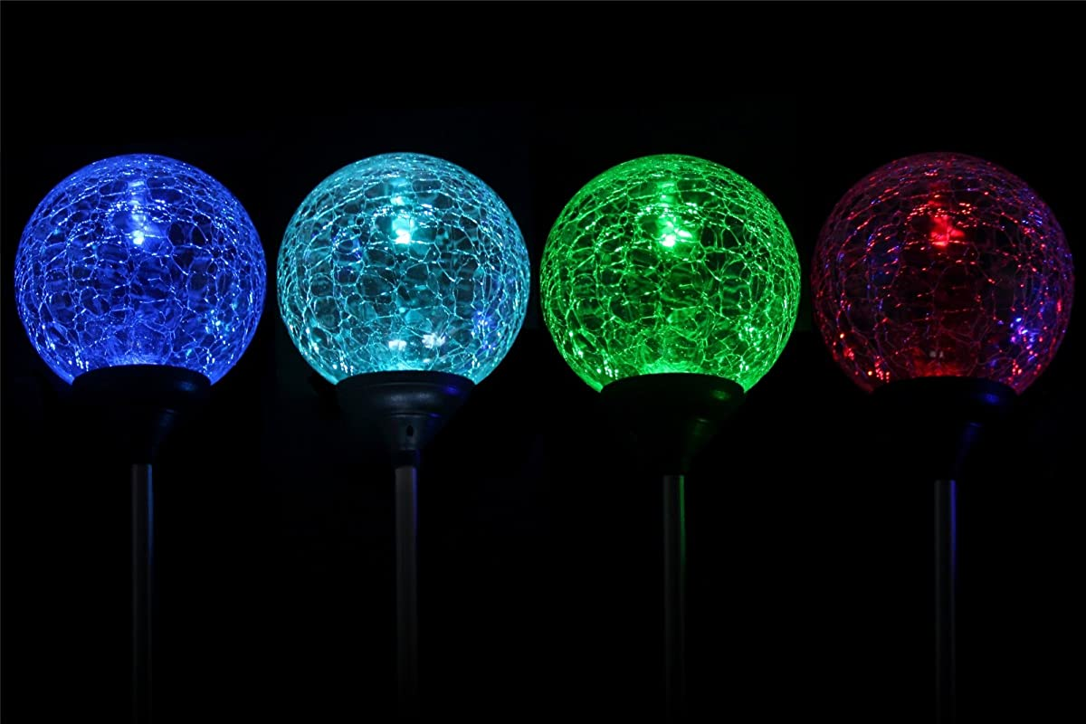 Solar Globe Lights, OxyLED Crystal Glass LED Light/Solar Stake Light, Color-Changing Outdoor Landscape Garden Light Decoration, Garden Decor, SL75 (2 Pack)