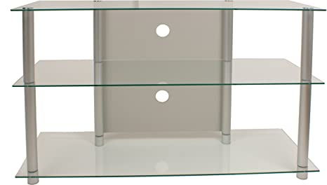 VCM Olopa - Mueble para TV, cristal claro, color plata