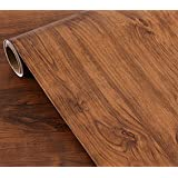 Oak Wood Grain Adhesive Paper Peel Stick Wallpaper Countertop Vinyl Funitures Drawer Shelf Liners Stickers,15.8inch by 79inch (Color: Brown)