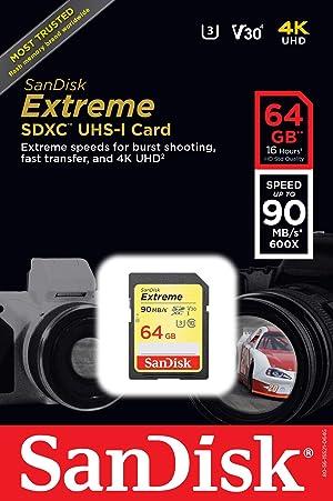 SanDisk Extreme 64GB SDXC UHS-I Card (SDSDXVE-064G-GNCIN) [Newest Version]