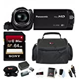 Panasonic HC-W580K Full HD 1080p Camcorder with Twin Camera, Extra Wasabi Battery + 64GB SD Card Bundle (Tamaño: 64GB Bundle)