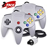 2 Pack N64 Controller, iNNEXT Classic Wired N64 64-bit Gamepad Joystick for Ultra 64 Video Game Console N64 System Mario Kart (Grey) (Color: Grey)