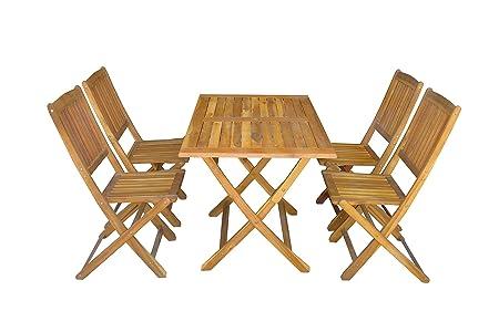 MCombo 5tlg Gartenset Balkonset Gartentisch Tisch Stuhl Akazienholz FSC zertifiziert klappbar