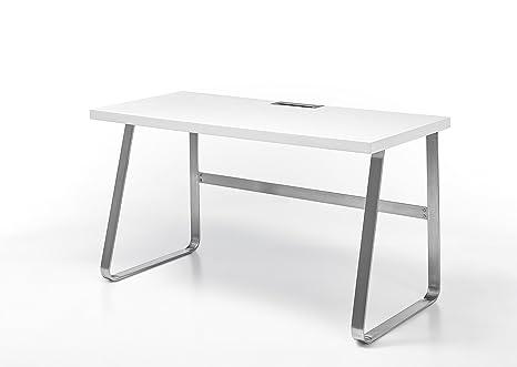 Robas Lund Schreibtisch Beno II matt weiß Edelstahl 60 x 140 x 75 cm