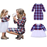 Mommy and Me Matching Plaid Long Sleeve Shirt Dress Princess Tulle Tutu Dress Parent-Child Family Outfits Clothes (Girls, 6-7T) (Color: Girls, Tamaño: 6T / 7T)