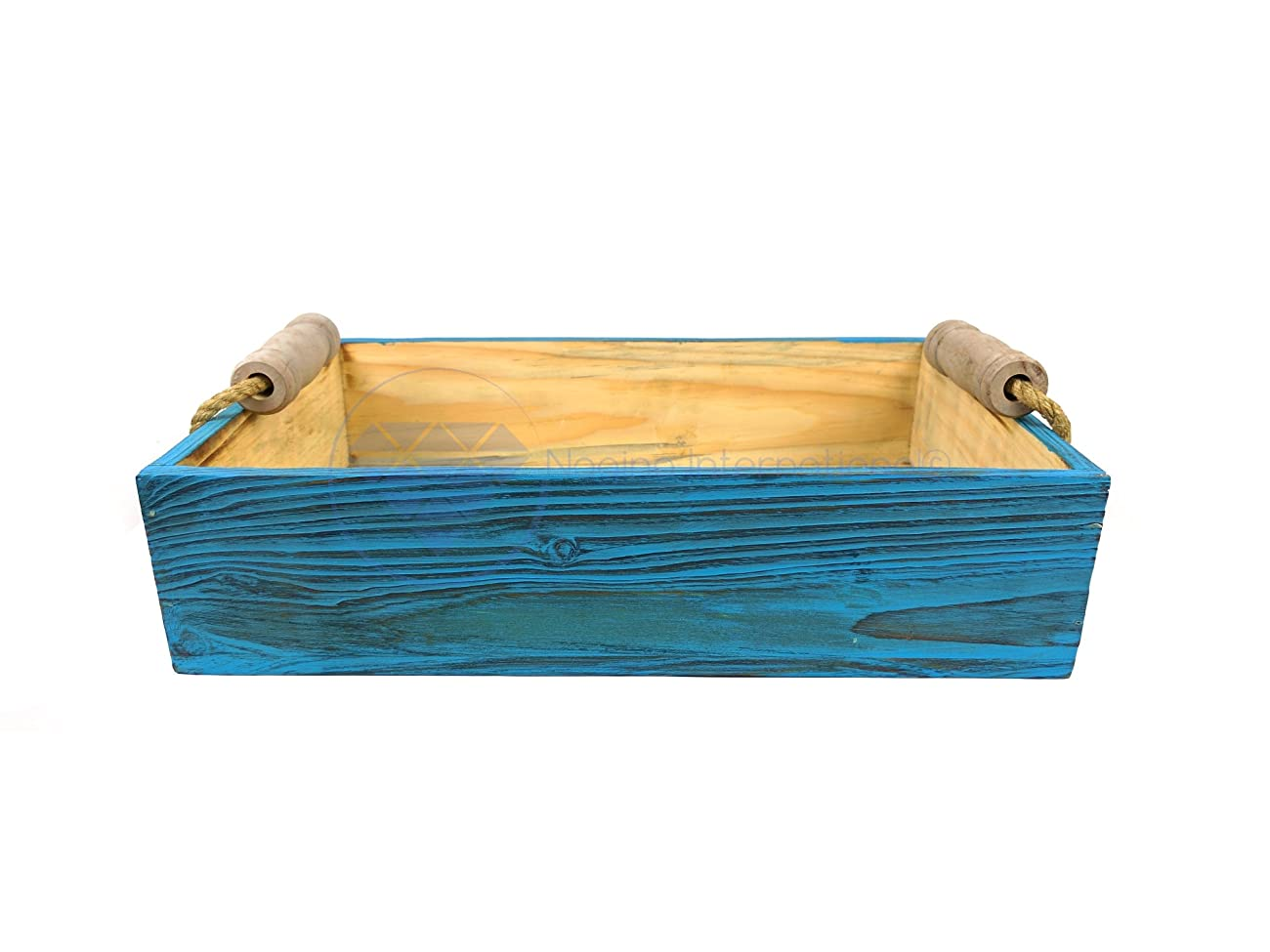 Vintage Rustic Wooden Crate Trays with Rope Handles- Set of 3 - Pirate Home Decor Gift - Nagina International 1