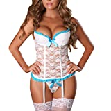 EVAbaby Plus Size Sexy Corset Garter Belt Lingerie Set for Women Exotic Floral Lace Camisole Sleepwear White 3XL (Color: White, Tamaño: XXX-Large)