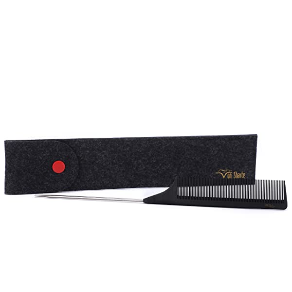 Tail Comb,Comb Rat Tail Hair Carbon Fiber Salon Metal Pin Tail Comb 100% Anti-Static 230? Heat Resistant,Rattail Lift Comb Round Teeth Bristle Ideal for Hair Partition/Cutting/Dying and Hair Styling (Color: Tail Comb C93207B, Tamaño: Tail Comb C93207B)