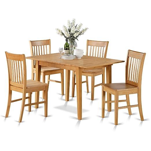 East West Furniture NOFK7-OAK-W 7-Piece Dinette Table Set