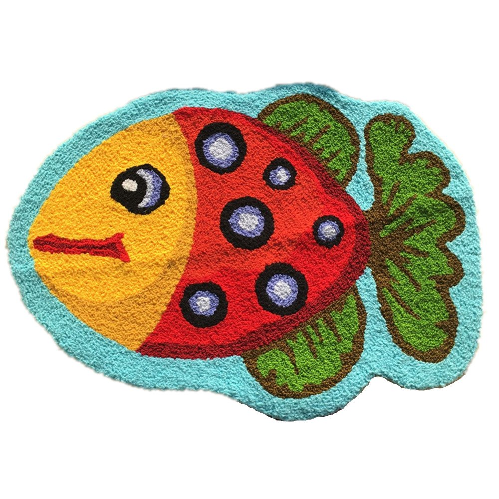 Ustide Cute Fish Rug Blue Handmade Bath Mat Animal Rugs for Kids Washable Non-Skid Floor Rugs for Bedroom Doormats 2x3