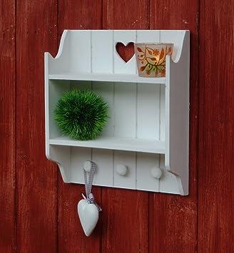 wandregal wandgarderobe shabby chic antiklook wei 28x33cm de78. Black Bedroom Furniture Sets. Home Design Ideas