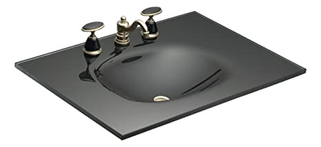 KOHLER K-2372-1-Y1 Runway 31-Inch by 22-Inch One-Piece Surface and Integrated Glass Bathroom Sink with Single-Hole Faucet Drilling, Raven