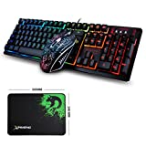 LexonElec Keyboard Mouse Combo K-13 104 Key Wired Rainbow Backlit Multimedia Ergonomic Usb Pro Gamer Gaming Keypad + 2400DPI 4 Buttons Optical Gaming Mice + Mouse Pad 320 x 240mm