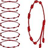 WILLBOND 6 Pieces Red Bracelet 7 Knots Red Cord Bracelet Adjustable Kabbalah Red Knot String Bracelet Amulet for Protection, Evil Eye and Good Luck