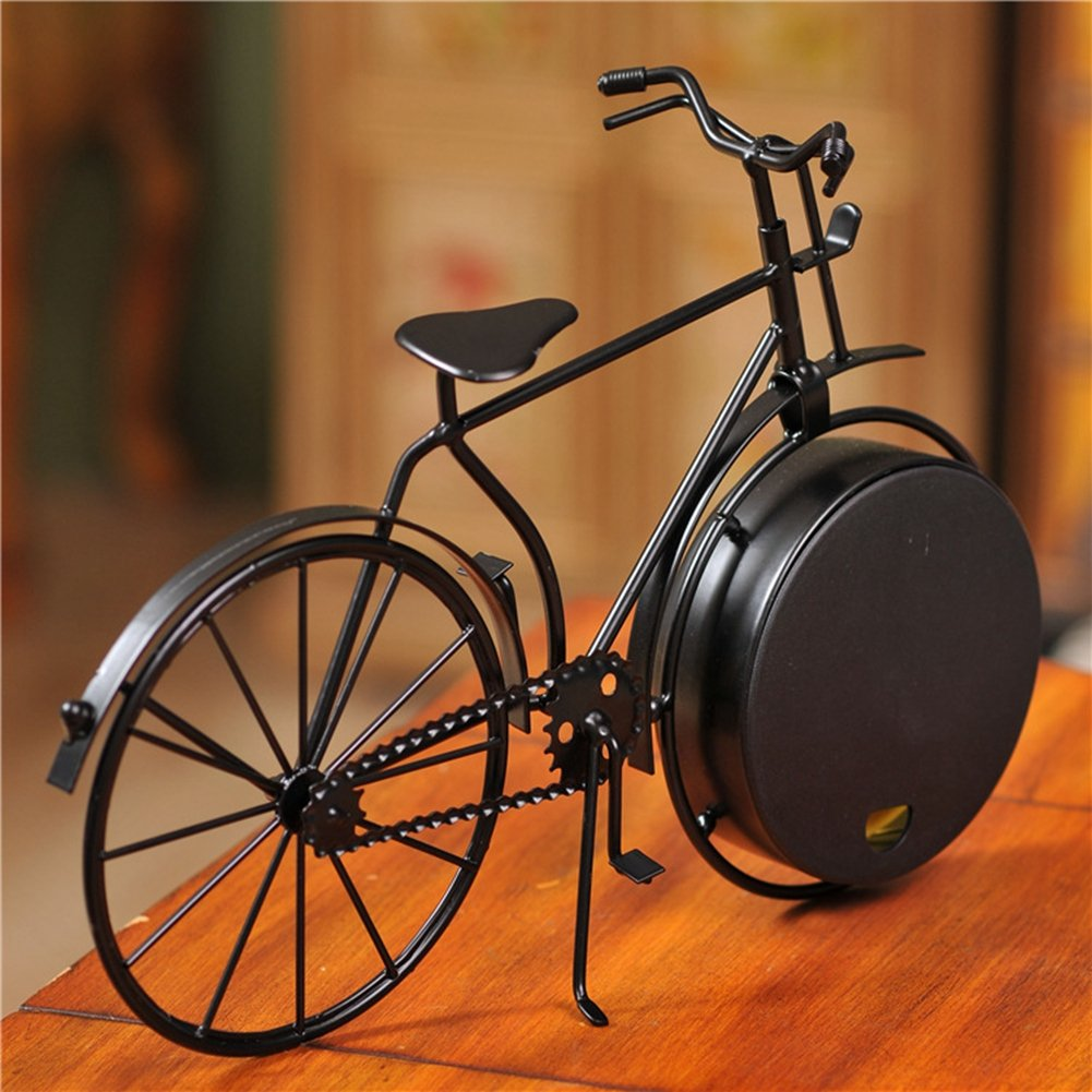 NEOTEND Handmade Vintage Bicycle Clock Bike Mute Black Table Clock Black Color 2