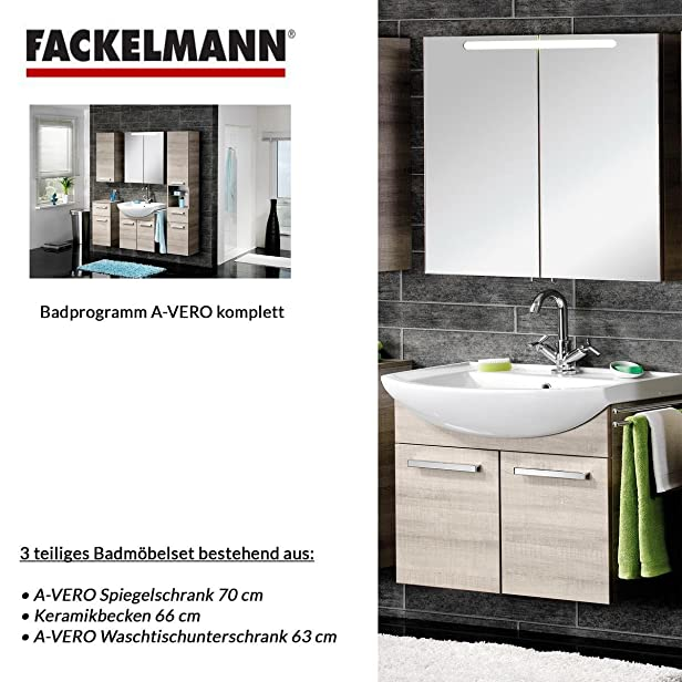 Fackelmann A-VERO 3 pezzi Mobile da bagno Set - mobiletto/lavabo/specchio