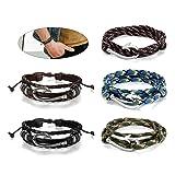 Flongo Men's Womens Tribal Nautical Fish Hook Leather Wrap Bangle Cuff Bracelet, Fit 8-10 inch Wrist, Braided Wrap Rope Wristband for Men Women (5PCS) (Color: 5PCS)