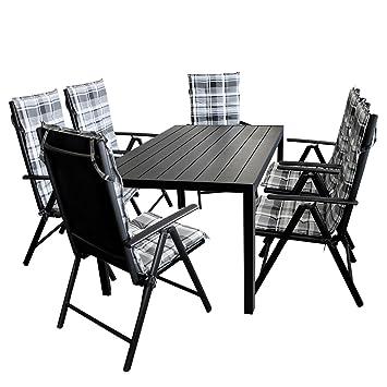 13tlg. Gartengarnitur Gartentisch, Aluminium, Polywood Tischplatte schwarz, 150x90cm + 6x Hochlehner, 2x2 Textilenbespannung, Lehne 7-fach verstellbar + 6x Stuhlauflage / Terrassenmöbel Gartenmöbel Set Sitzgarnitur