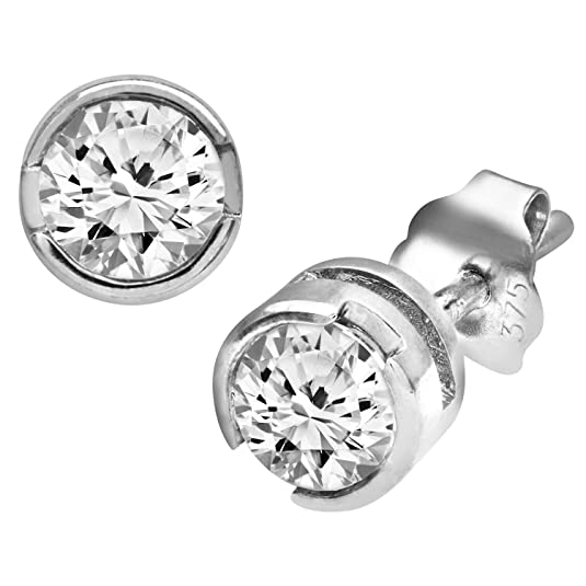 Naava 9 ct White Gold Rub Set Half Carat Diamond Earrings, White Gold