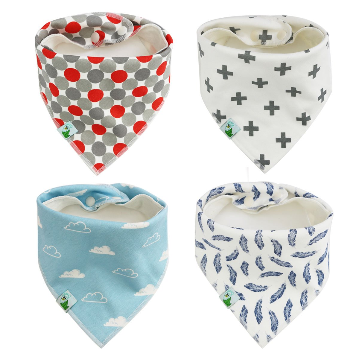 Baby Bandana Bibs, Cute Unisex 4 Pack Bib with Snaps - Best for Babies Drooling, Teething and Feeding - 100% Soft Cotton & Waterproof Fleece Backing. Perfect Baby Shower Gift Set for Boys & Girls